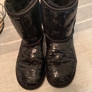 Black sequin UGGs.